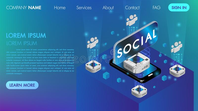 Virtual reality social communication concept with technology connect intelligence icon.Can use for web banner, machine programming stock illustration