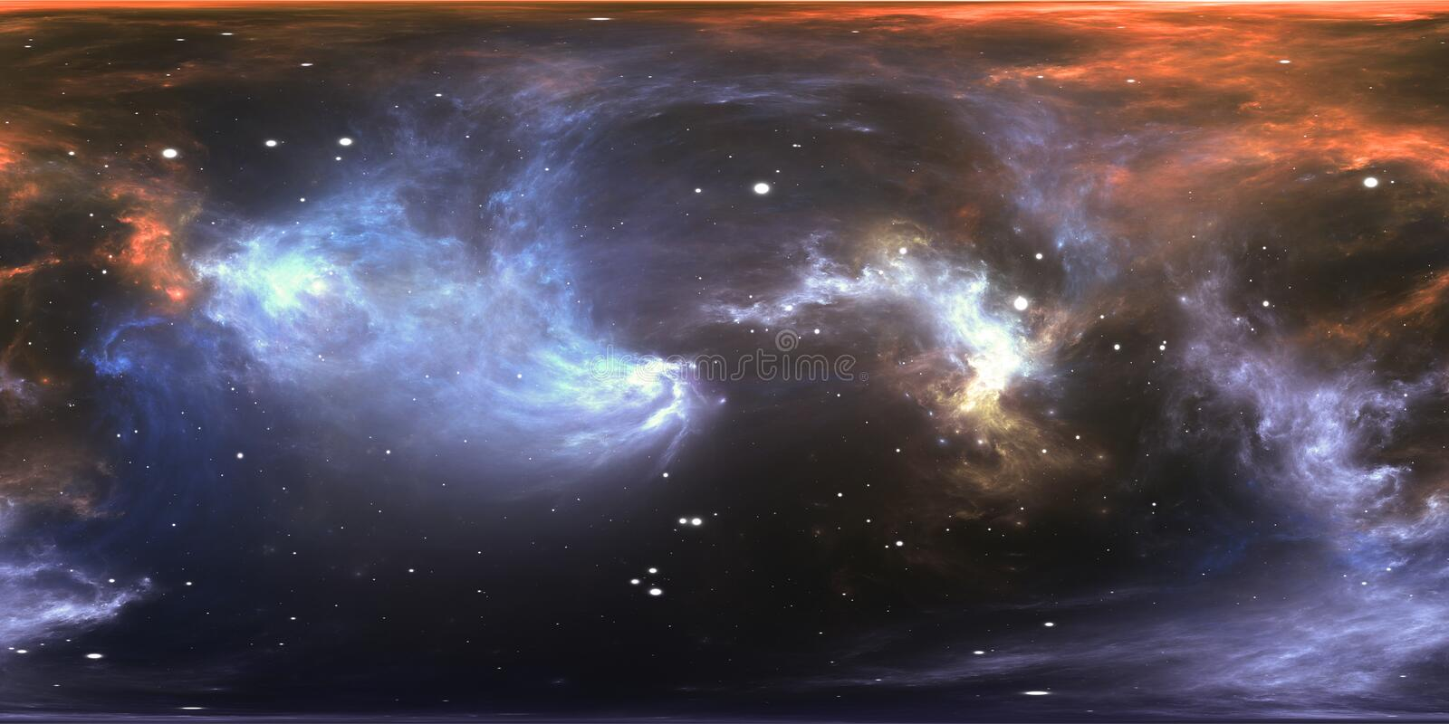 Virtual reality stellar system and nebula. Panorama, environment 360 HDRI map. Equirectangular projection, spherical panorama. 3d illustration vector illustration