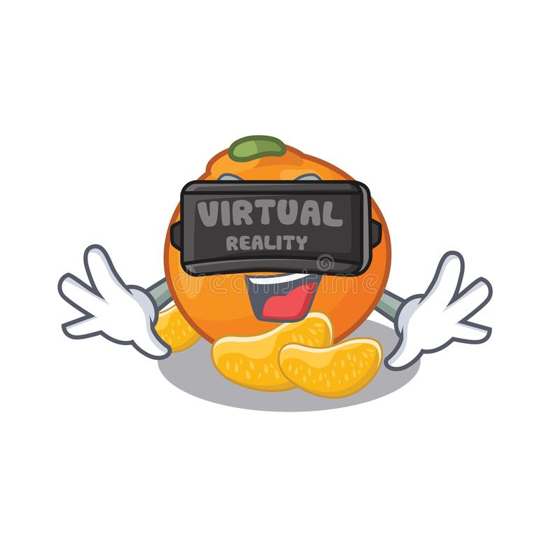 Virtual reality tangerine with in the mascot shape royalty free illustration