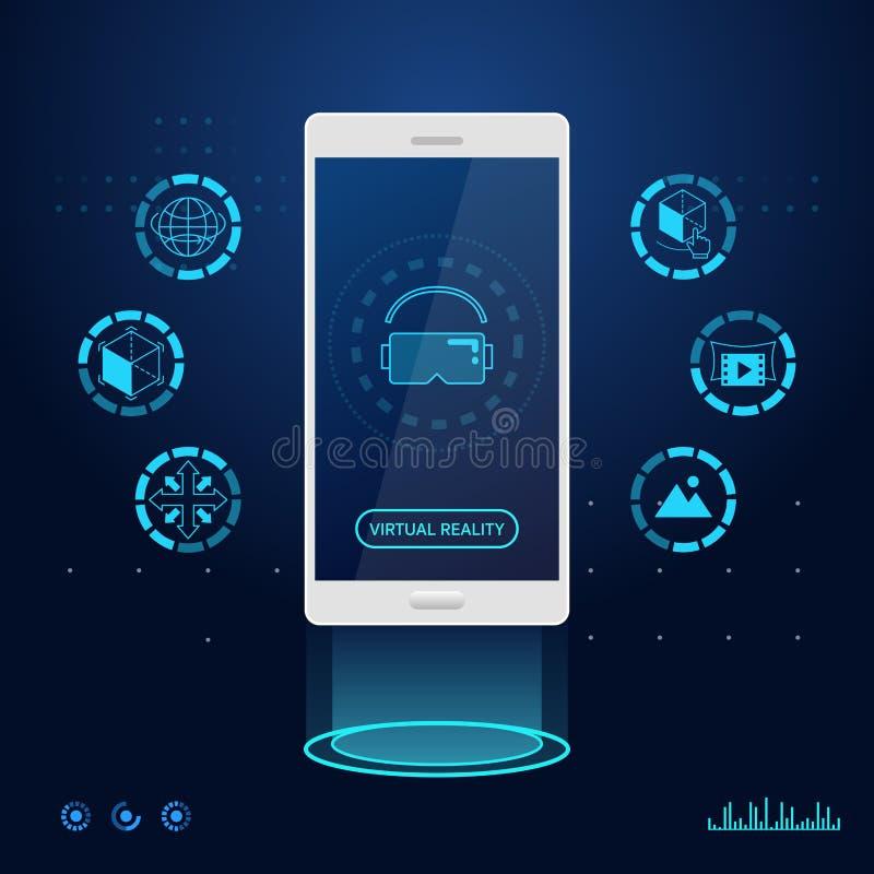 Virtual reality technology app mobile phone. Virtual reality technology application mobile phone vector stock illustration