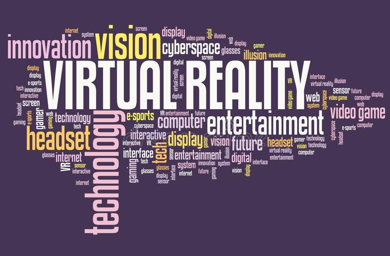 Virtual reality sign. Virtual reality technology concept - VR word cloud sign stock illustration