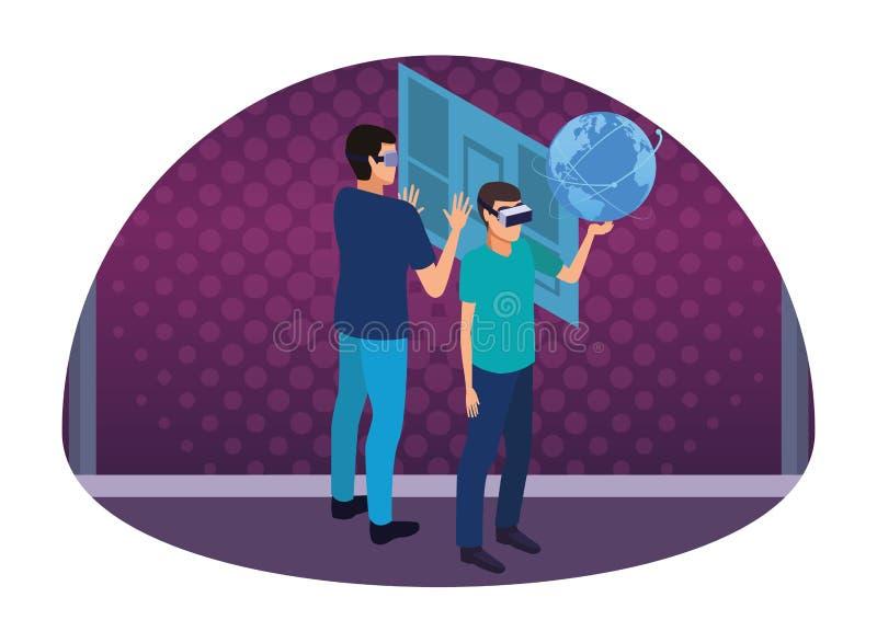 Virtual reality technology experience cartoon on purple digital background stock illustration