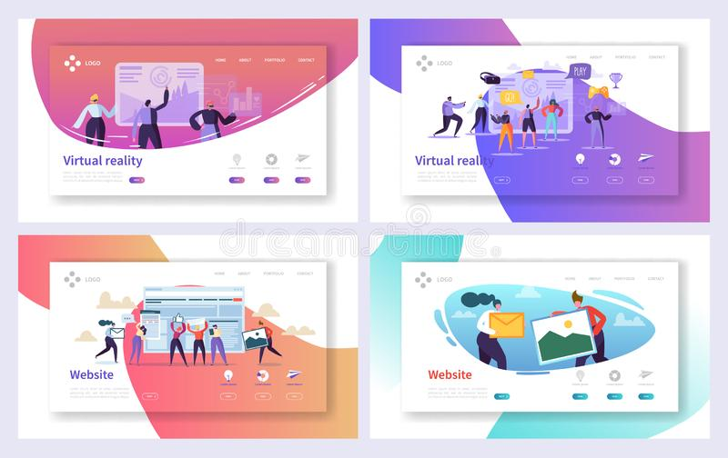 Virtual Reality Technology Landing Page Set. Augment Visual Game for Future Excited User Character. Fiction Cyberspace vector illustration