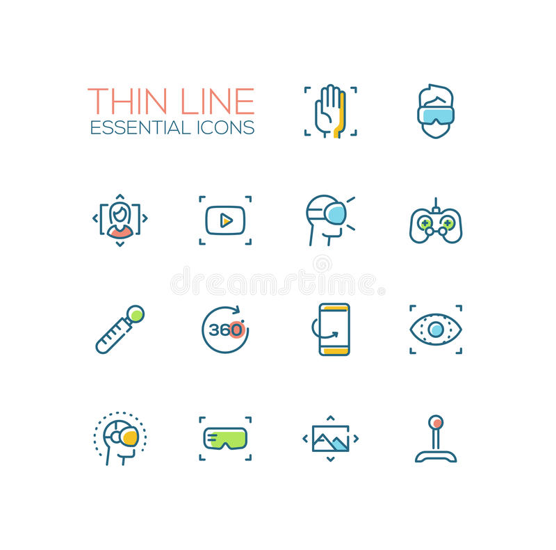 Virtual Reality - Thin Single Line Icons Set. Virtual Reality - modern vector simple thin line design icons and pictograms set with accent color. Material design vector illustration