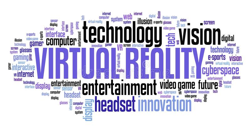 Virtual reality. Technology concept - VR word cloud stock illustration
