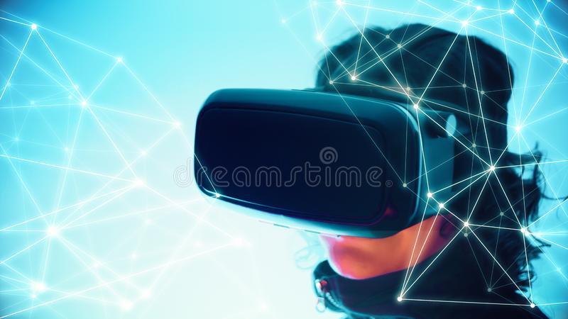 Virtual reality vr glasses and girl, dots chaos triangle lines connections. VR technology wearable equipment creative tech innovation, girl testing online stock photos