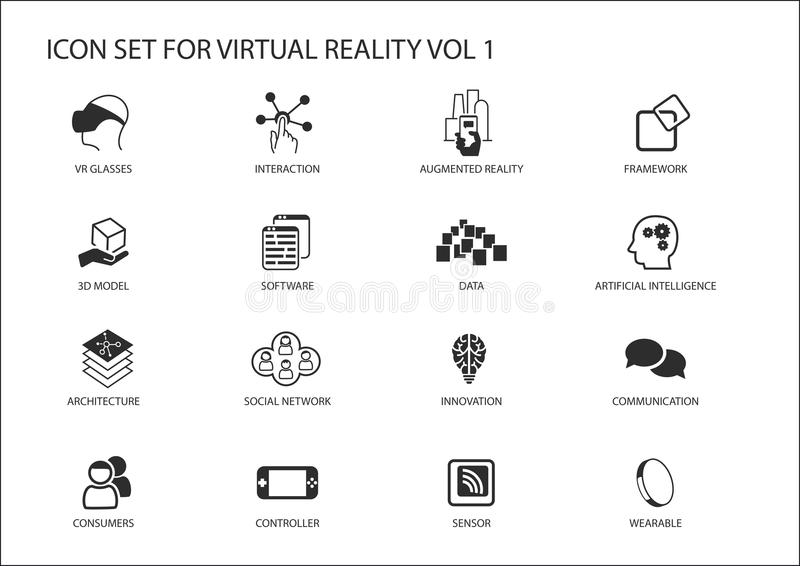 Virtual Reality (VR) icon set. Multiple symbols in flat design. Like virtual reality glasses, augmented reality, sensor, interaction, 3d model vector illustration