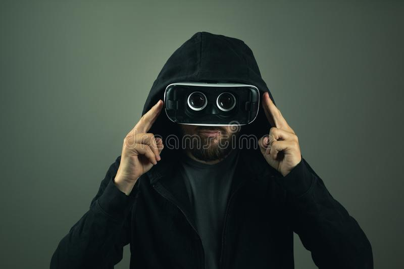 Virtual Reality web hacker. Identity theft on the internet royalty free stock images