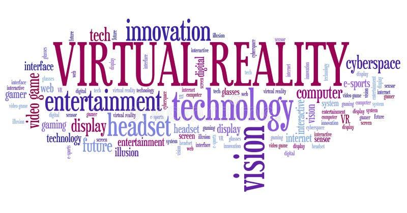 Virtual reality word cloud stock illustration