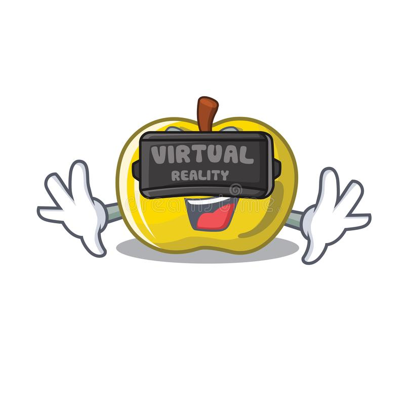 Virtual reality yellow apple isolated with the mascot royalty free illustration