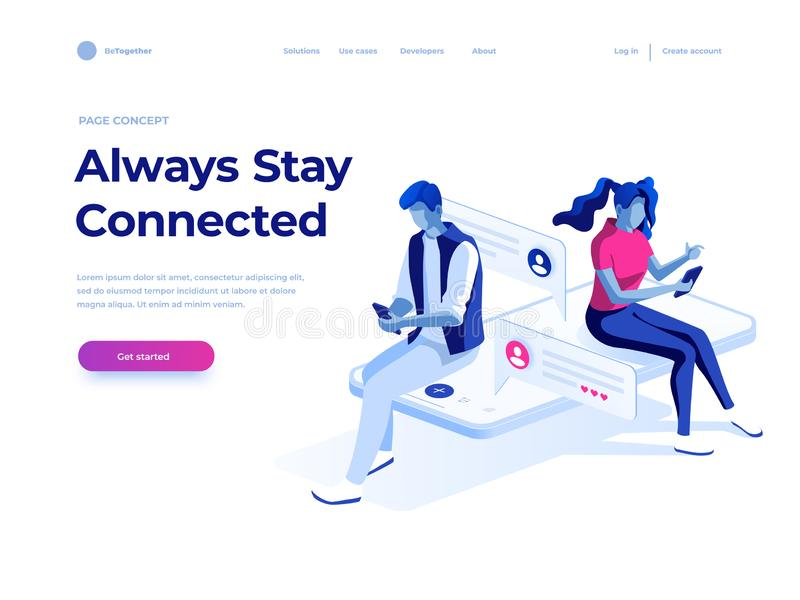 Virtual relationships and social networking concept - teenagers chatting on the Internet. Vector 3d isometric illustration. Virtual relationships, online dating royalty free illustration