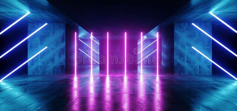Virtual Sci Fi Fluorescent Neon Cyber Futuristic Modern Retro Alien Dance Club Glowing Vibrant Blue Purple Lights In Dark Empty. Grunge Concrete Reflective stock illustration