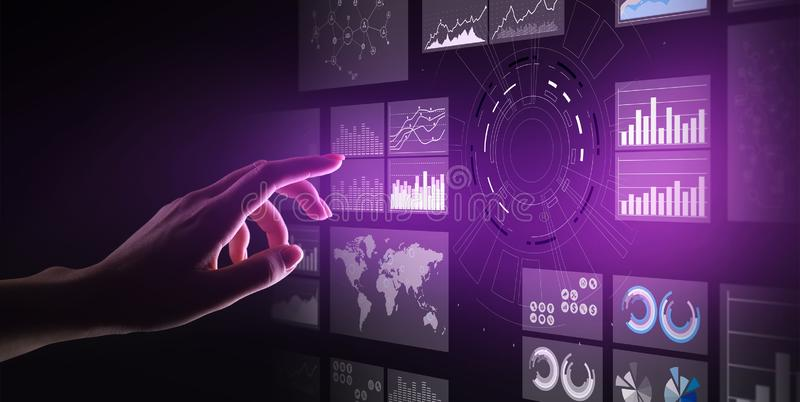 Virtual screen business intelligence dashboard, analytics and big data technology concept. royalty free stock image