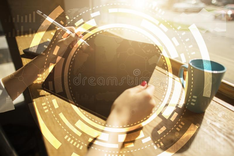 Virtual screen business, technology and internet concept. vector illustration