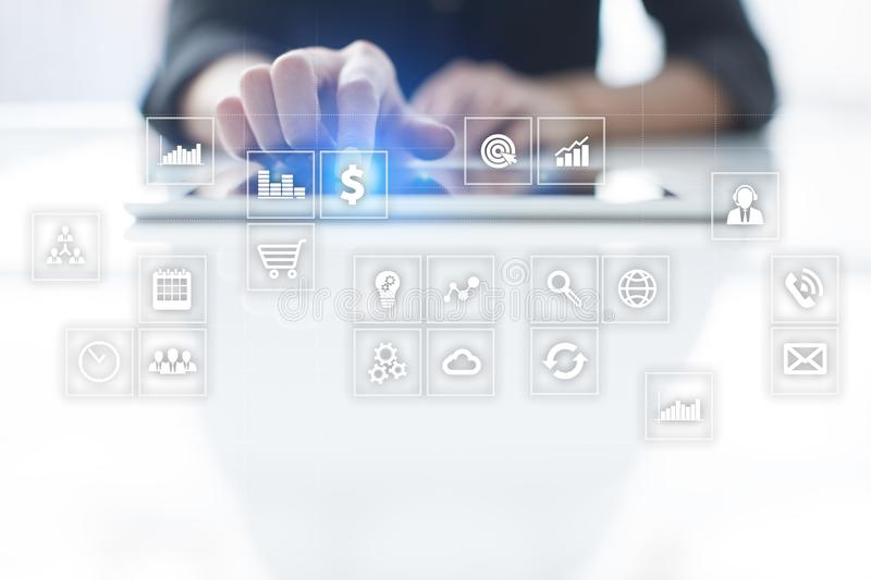 Virtual screen interface with applications icons. APPS. Strategy planning Internet technology concept. stock images