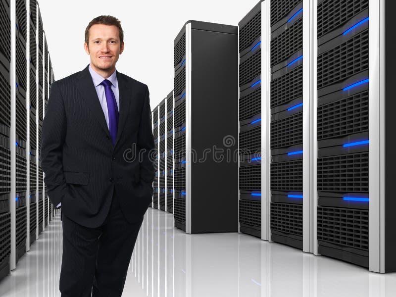 Virtual server 3d and man stock photography