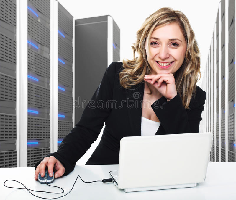 Virtual server 3d and woman stock photography