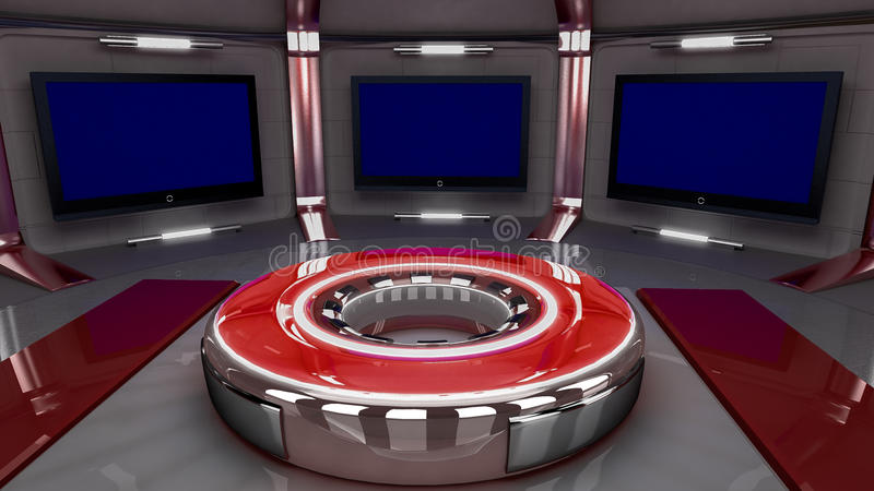 Virtual set new red 2014. 3D virtual set for news or ther TV related vector illustration
