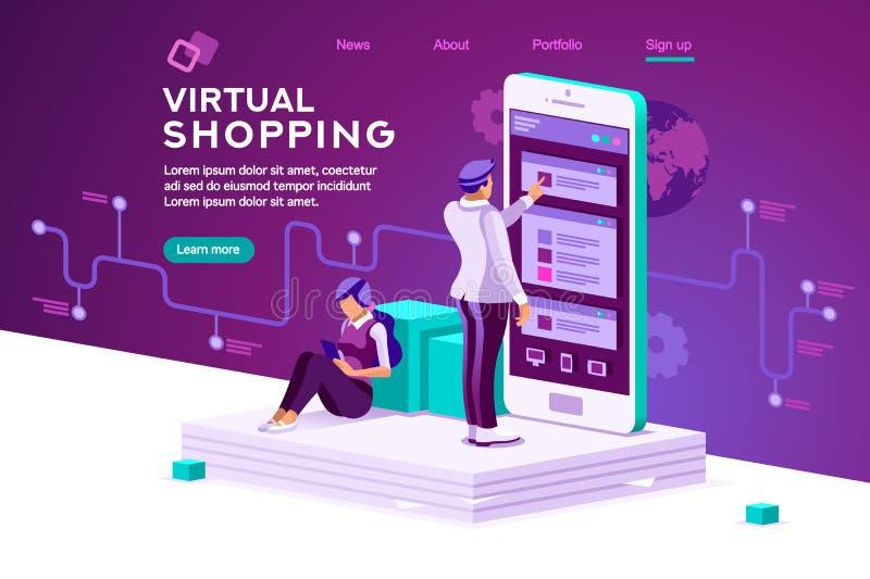 Virtual Shopping Data Software Concept Vector vector illustration