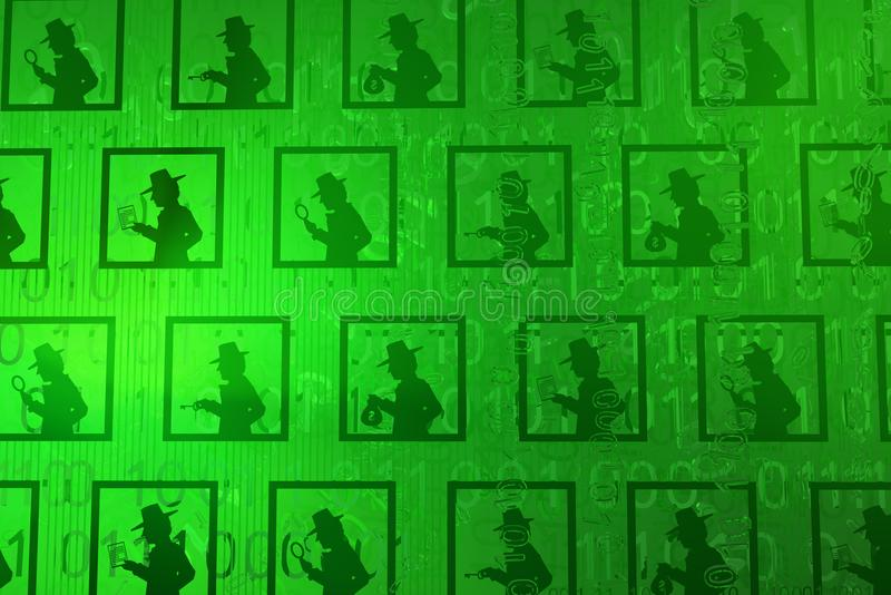 Virtual Spy Database. Spy shadow figures database green, cyberspace virtual reality abstract 3d illustration, horizontal vector illustration