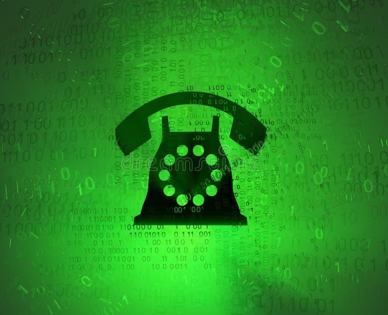 Virtual Telephone. Telephone symbol, cyberspace virtual reality abstract 3d illustration, horizontal stock illustration