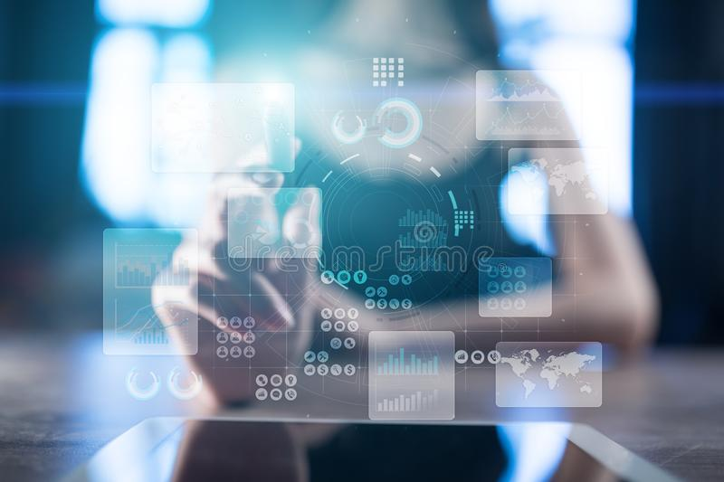 Project management. Data analysis. Hitech technology solutions for business. Development. Internet and technology. Virtual touch screen. Project management royalty free stock photos