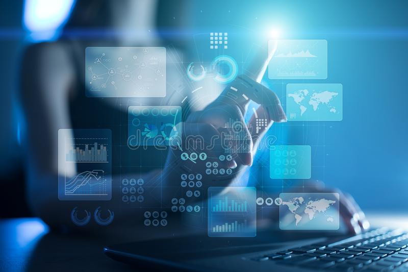Virtual touch screen. Project management. Data analysis. Hitech technology solutions for business. Internet, technology. Virtual touch screen. Project royalty free stock photo