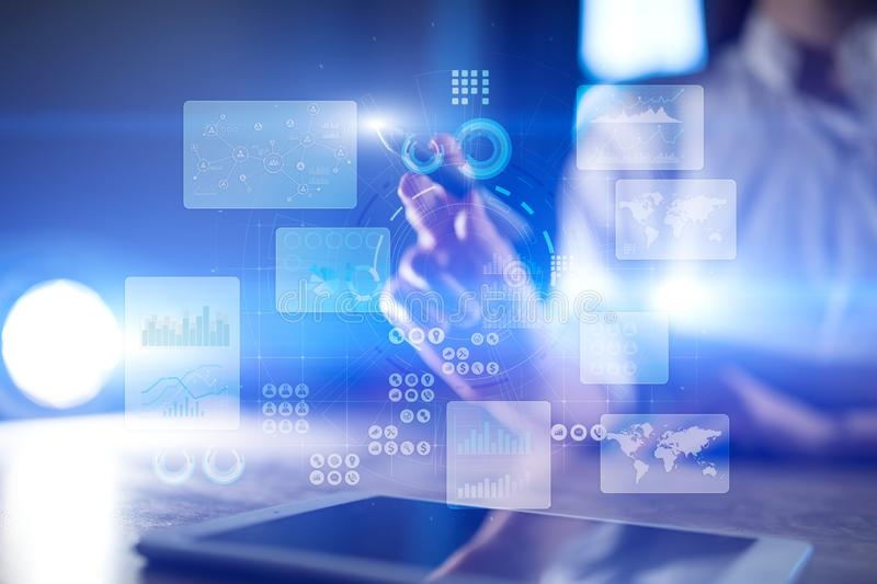 Virtual touch screen. Project management. Data analysis. Hitech technology solutions. Internet and technology. Virtual touch screen. Project management. Data royalty free stock image