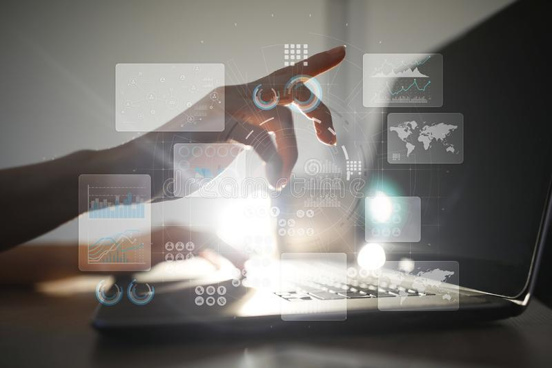 Virtual touch screen. Project management. Data analysis. Hitech technology solutions for business. Development. Icons and graphs background. Internet and stock photos