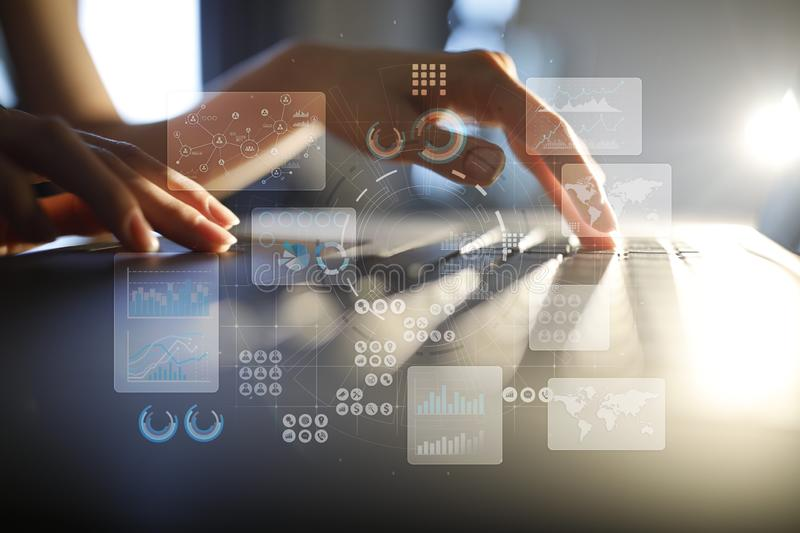 Virtual touch screen. Project management. Data analysis. Hitech technology solutions for business. Internet, technology. Virtual touch screen. Project stock image