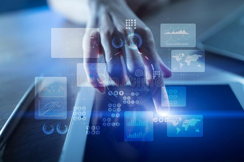 Virtual touch screen. Project management. Data analysis. Hitech technology solutions for business. Development. Icons and graphs background. Internet and stock photography