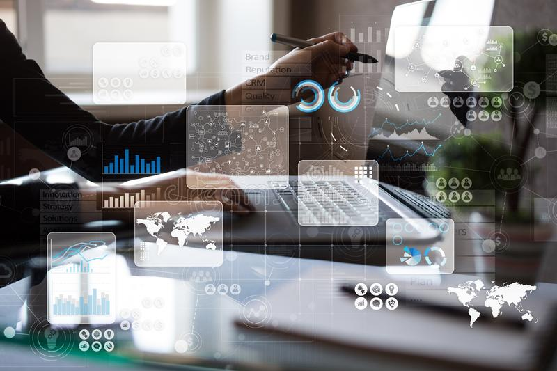 Virtual touch screen. Project management. Data analysis. Hitech technology solutions for business. Development. Icons and graphs background. Internet and royalty free stock photos