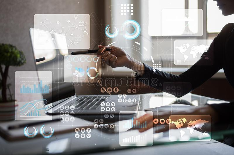 Virtual touch screen. Project management. Data analysis. Hitech technology solutions for business. Development. Icons and graphs background royalty free stock image