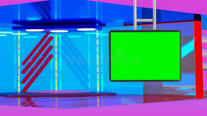 Virtual TV news broadcast studio set background. With suspended greenscreen royalty free illustration