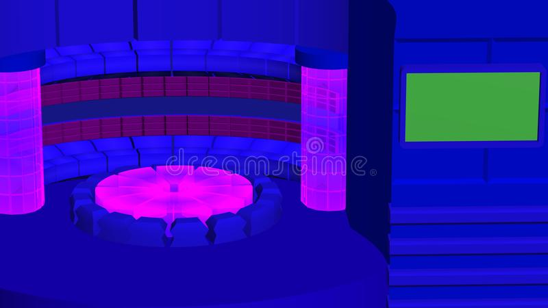 Virtual tv news radial background with crystal cylinders purple blue stock image