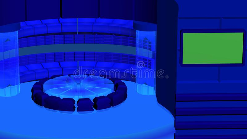 Virtual tv news radial background with crystal cylinders dark blue. Virtual tv news radial background with green screen and abstract crystal cylinders dark blue royalty free stock photography