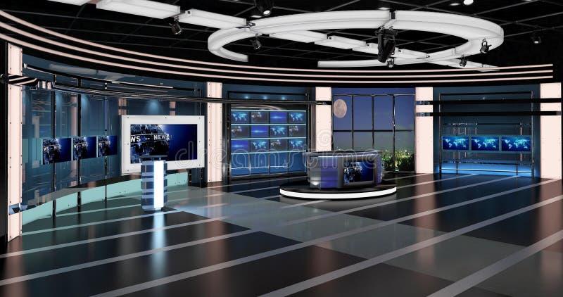virtual tv news set 27 stock illustration  illustration of