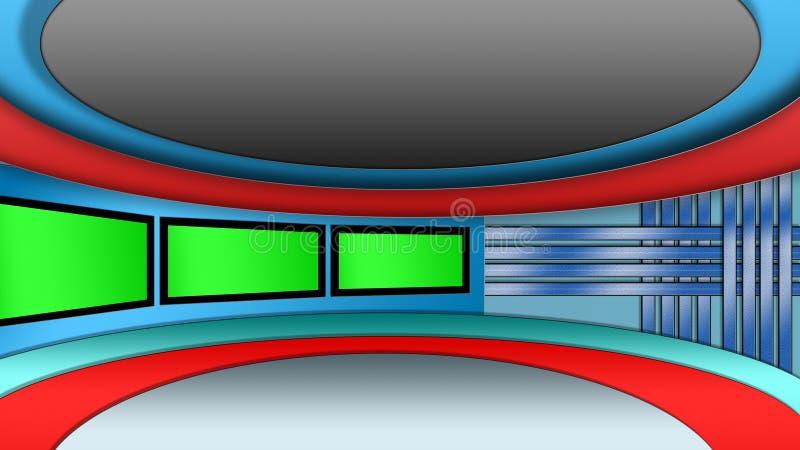 Virtual TV news studio set. Background with green screens stock illustration