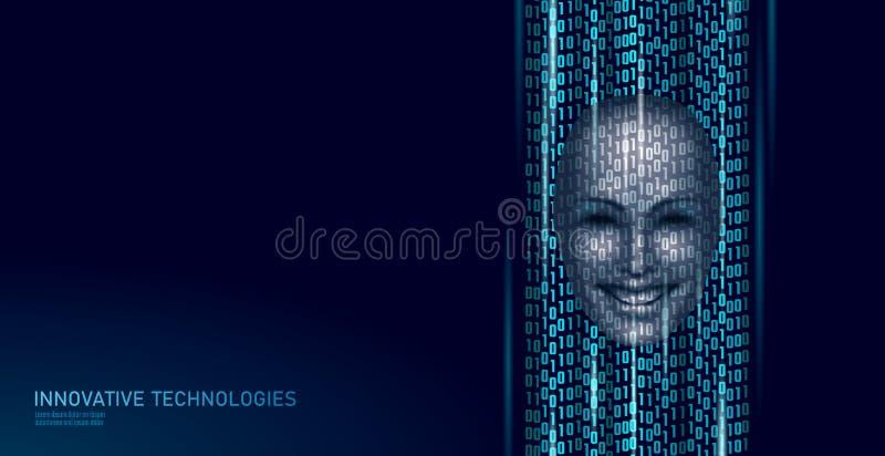 Virtual voice computer online assistant concept. Voice sound recognizer help service business smartphone chatbot stock illustration