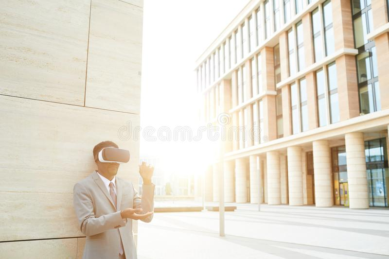 Virtual work in the city stock photo