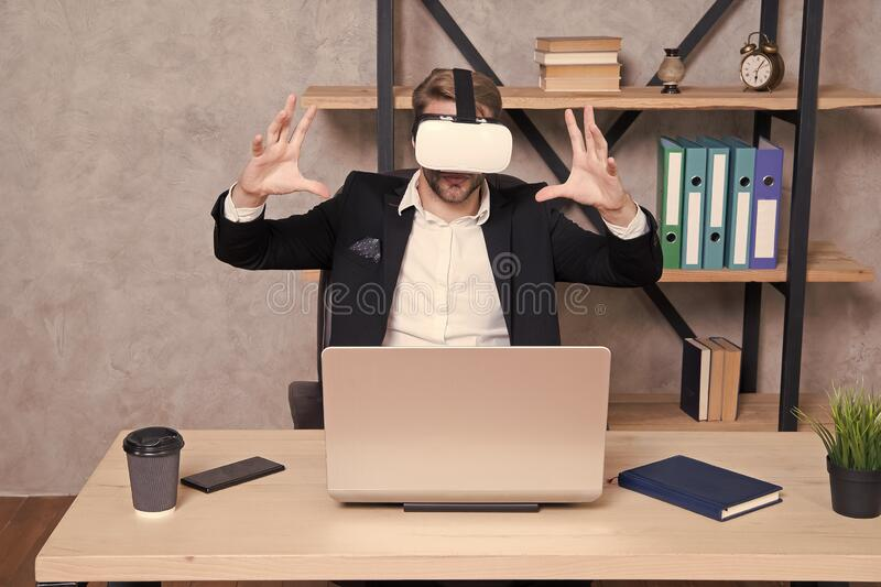 Virtual work space. Businessman explore virtual reality. Interact in virtual reality. Business implement modern royalty free stock photos