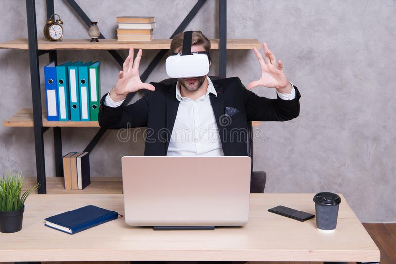 Virtual work space. Businessman explore virtual reality. Interact in virtual reality. Business implement modern. Technology. Man formal suit work 3d cyber space royalty free stock images