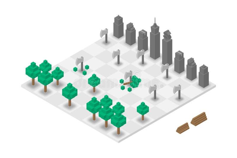 Virtuale isometrico di scacchi astratti 3D della costruzione e della foresta, progettazione di massima di Giornata mondiale dell' illustrazione di stock