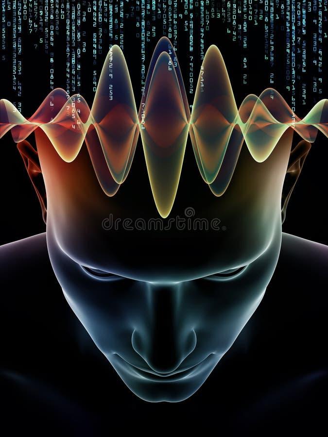 Virtualization av den mänskliga meningen royaltyfri illustrationer