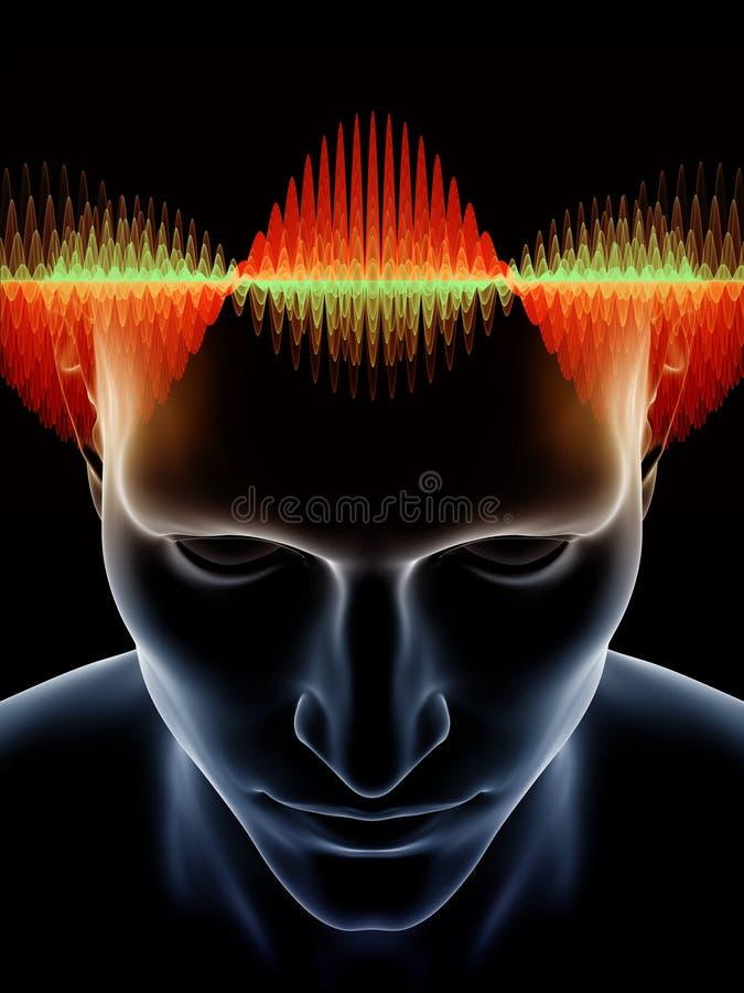 Virtualization av den mänskliga meningen stock illustrationer