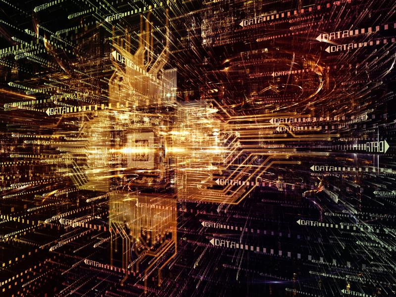 Virtualizzazione del mondo di Digital illustrazione di stock