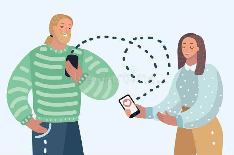 Virtually dating couple. Young people sending romantic love messages and heart symbols from their smartphones. Vector cartoon illustration of man and woman vector illustration