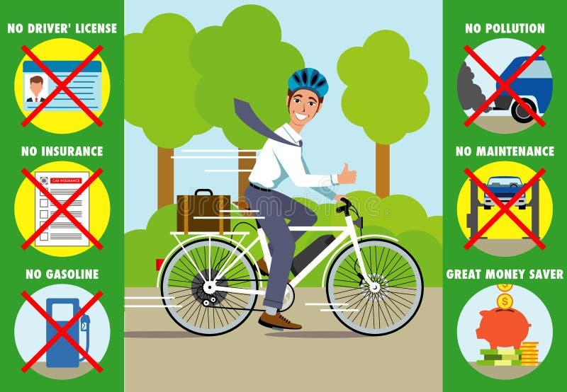 Virtudes de uma bicicleta elétrica ilustração royalty free
