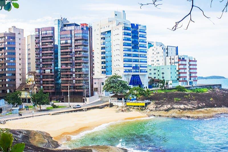 Virtudes wyrzucać na brzeg, Guarapari, espÃrito Santo stan, Brazylia zdjęcia royalty free