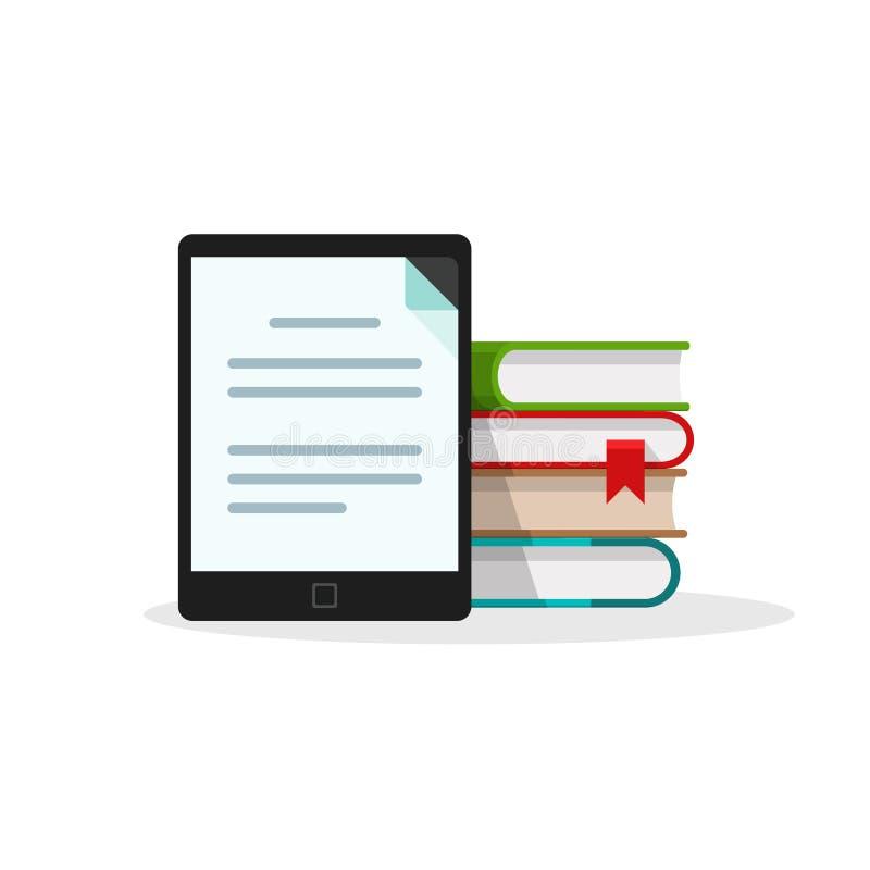 Virtueel bibliotheekconcept, boekenstapel achter de elektronische tablet van de boeklezer stock illustratie